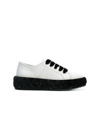 weiße und schwarze Leder niedrige Sneakers von Marco De Vincenzo
