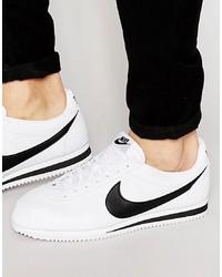 weiße und schwarze Leder niedrige Sneakers von Nike