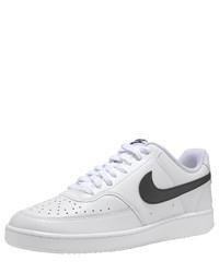 weiße und schwarze Leder niedrige Sneakers von Nike Sportswear