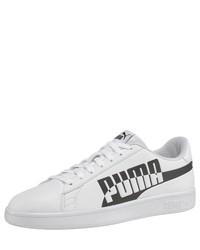 weiße und schwarze Leder niedrige Sneakers von Puma