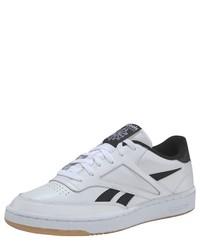 weiße und schwarze Leder niedrige Sneakers von Reebok Classic