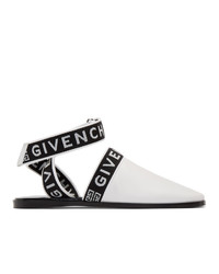 weiße und schwarze Leder Pantoletten von Givenchy