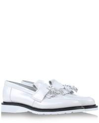 weiße und schwarze Leder Slipper