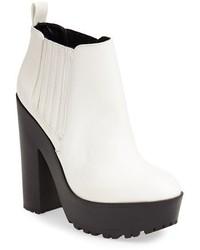 weiße und schwarze Leder Stiefeletten