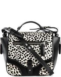 weiße und schwarze Leder Umhängetasche mit Leopardenmuster