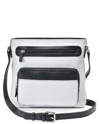 weiße und schwarze Leder Umhängetasche