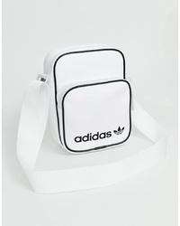 weiße und schwarze Leder Umhängetasche von adidas Originals