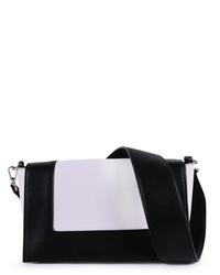 weiße und schwarze Leder Umhängetasche von EMILY & NOAH