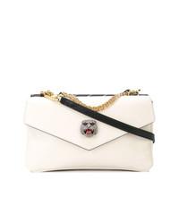 weiße und schwarze Leder Umhängetasche von Gucci