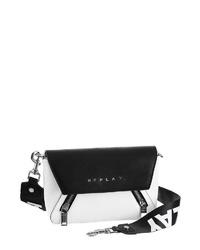 weiße und schwarze Leder Umhängetasche von Replay