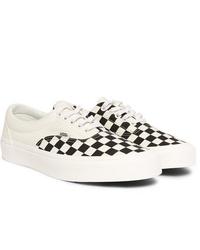 weiße und schwarze Segeltuch niedrige Sneakers mit Karomuster von Vans