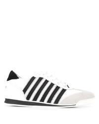 weiße und schwarze Segeltuch niedrige Sneakers von DSQUARED2