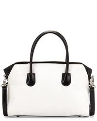 weiße und schwarze Shopper Tasche aus Leder