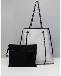 weiße und schwarze Shopper Tasche aus Leder von ASOS DESIGN