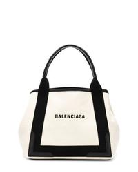 weiße und schwarze Shopper Tasche aus Leder von Balenciaga