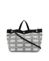 weiße und schwarze Shopper Tasche aus Leder von Balmain