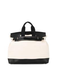 weiße und schwarze Shopper Tasche aus Leder von Cabas