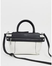 weiße und schwarze Shopper Tasche aus Leder von Fiorelli