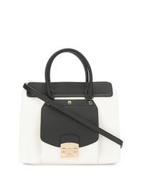 weiße und schwarze Shopper Tasche aus Leder von Furla