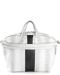 weiße und schwarze Shopper Tasche aus Leder von Givenchy