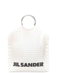 weiße und schwarze Shopper Tasche aus Leder von Jil Sander