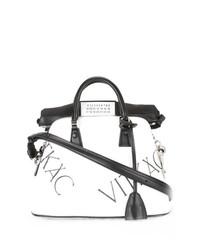 weiße und schwarze Shopper Tasche aus Leder von Maison Margiela