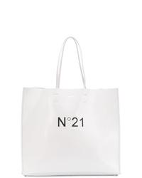 weiße und schwarze Shopper Tasche aus Leder von N°21