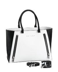 weiße und schwarze Shopper Tasche aus Leder von Replay