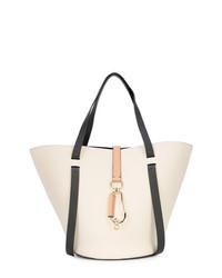 weiße und schwarze Shopper Tasche aus Leder von Zac Zac Posen