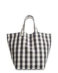 weiße und schwarze Shopper Tasche aus Segeltuch mit Schottenmuster