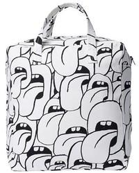 weiße und schwarze Shopper Tasche aus Segeltuch
