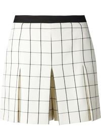 weiße und schwarze Shorts mit Karomuster von Proenza Schouler