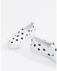weiße und schwarze Slip-On Sneakers von ASOS DESIGN