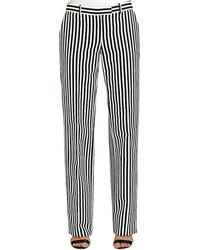weiße und schwarze vertikal gestreifte Anzughose