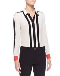 weiße und schwarze vertikal gestreifte Bluse mit Knöpfen