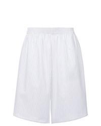 weiße vertikal gestreifte Bermuda-Shorts