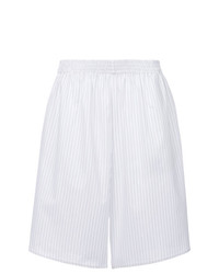 weiße vertikal gestreifte Bermuda-Shorts von MM6 MAISON MARGIELA
