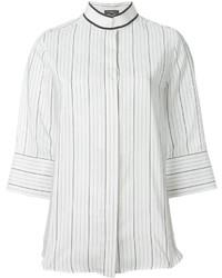 Weiße vertikal gestreifte Bluse mit Knöpfen von Salvatore Ferragamo