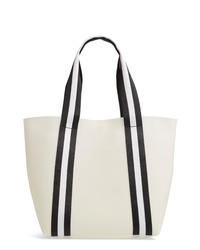 weiße vertikal gestreifte Shopper Tasche aus Leder