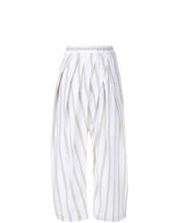 weiße vertikal gestreifte weite Hose von Marni