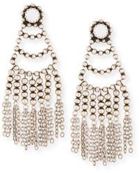 weiße verziert mit Perlen Ohrringe