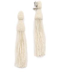 weiße verziert mit Perlen Ohrringe von Oscar de la Renta