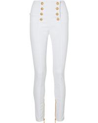 weiße verzierte enge Jeans von Balmain