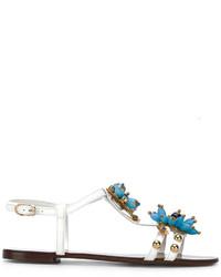 weiße verzierte flache Sandalen aus Leder von Dolce & Gabbana