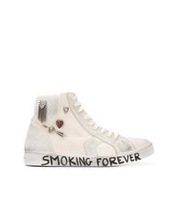 weiße verzierte hohe Sneakers aus Segeltuch von Saint Laurent