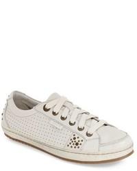 weiße verzierte Leder Niedrige Sneakers