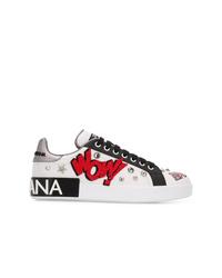 weiße verzierte Leder niedrige Sneakers von Dolce & Gabbana