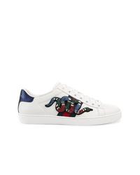 weiße verzierte Leder niedrige Sneakers von Gucci