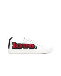 weiße verzierte Leder niedrige Sneakers von Marc Jacobs