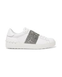 weiße verzierte Leder niedrige Sneakers von Valentino
